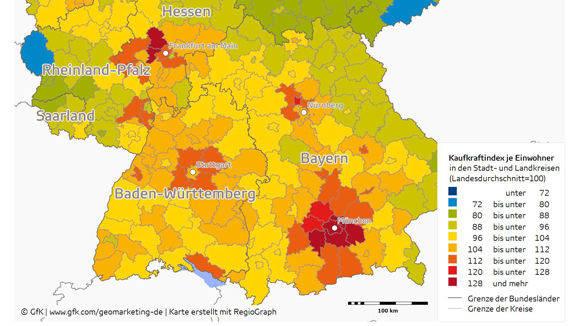 Deutschland Karte Städte.Kaufkraft Studie Die Reichsten Städte Und Landkreise W V