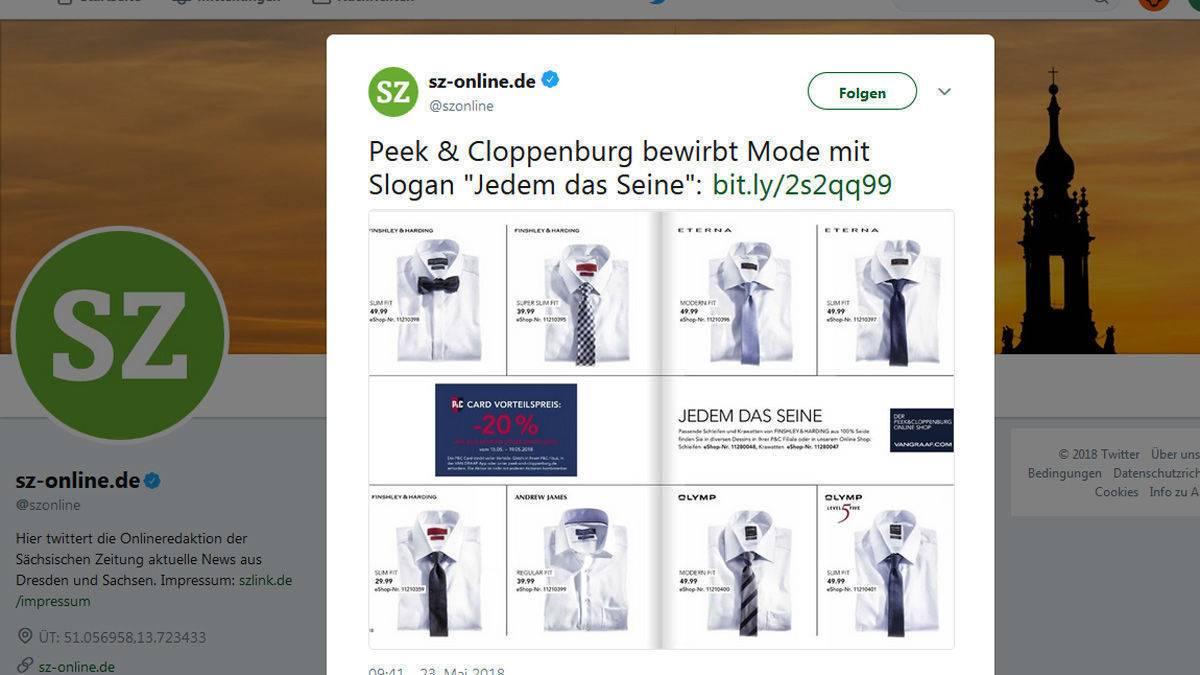 8680d7ba16fd Peek & Cloppenburg blamiert sich mit Nazi-Spruch   W&V